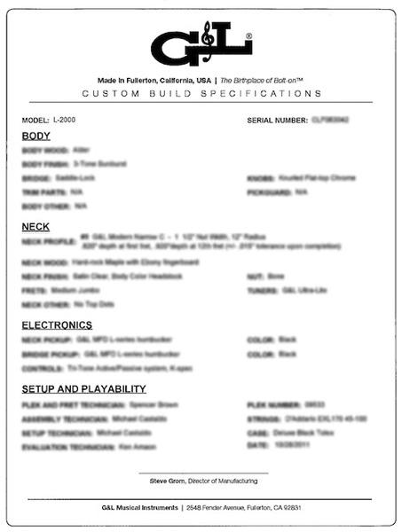 G&L L-2000の仕様書