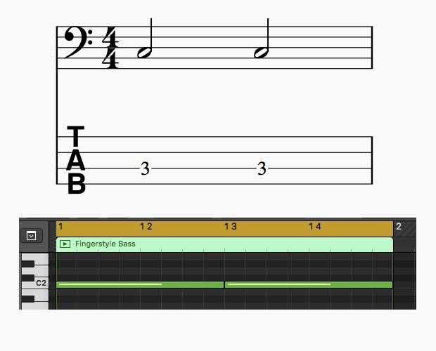2分音符の例