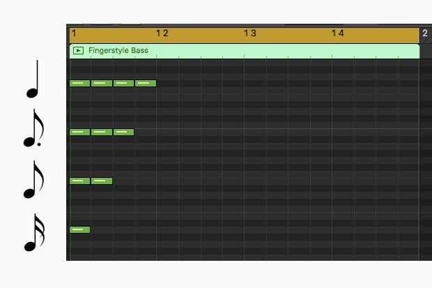 各音符を16分音符で捉える