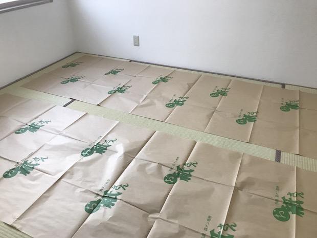 畳の上の防カビシートを敷く