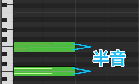 ピアノロールで見る半音の関係