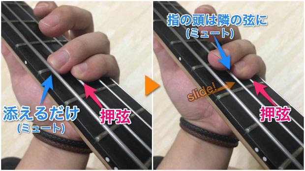 指を隣の弦にスライドさせる場合