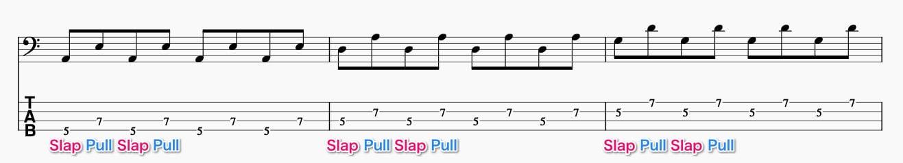 隣の弦同士でサムとプルをする練習