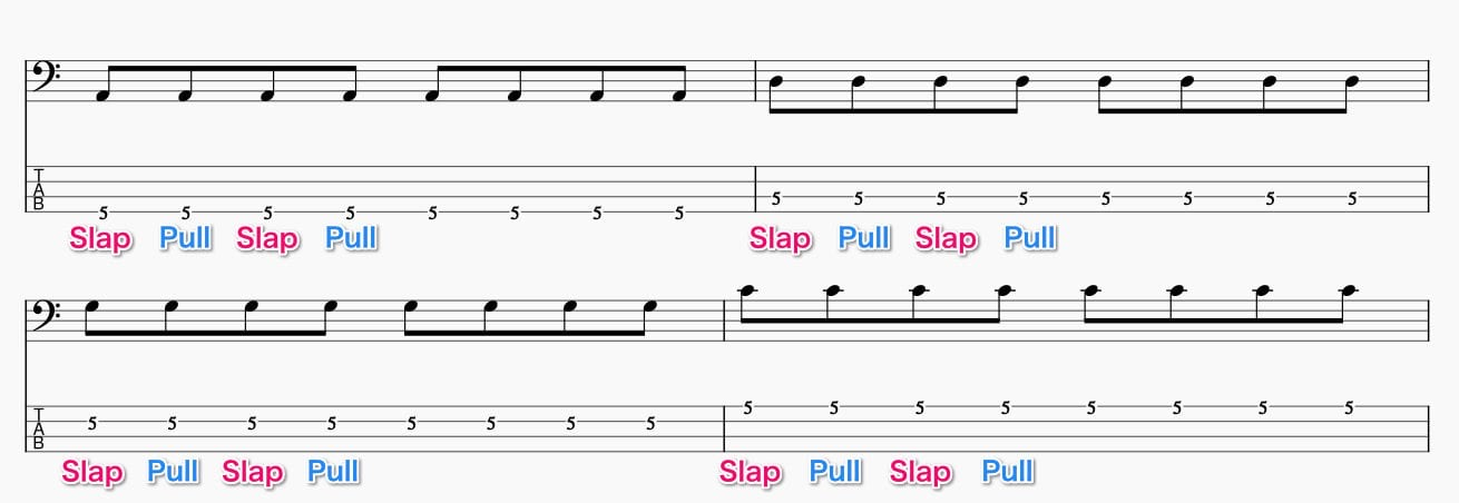 同弦上でサムとプルをする基礎練習