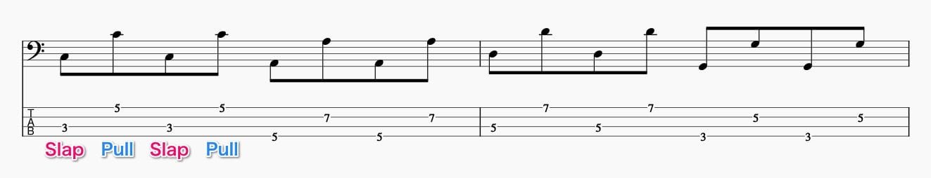 スラップのプルの基礎練習1