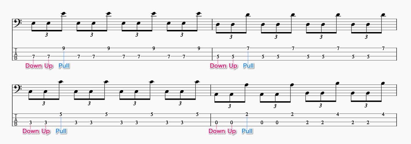 1弦と3弦のロータリー基礎練習