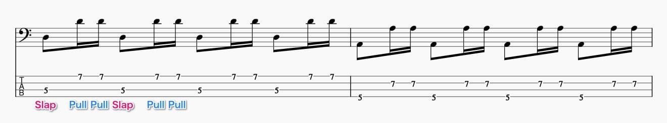 スラップのダブルプルの基礎練習